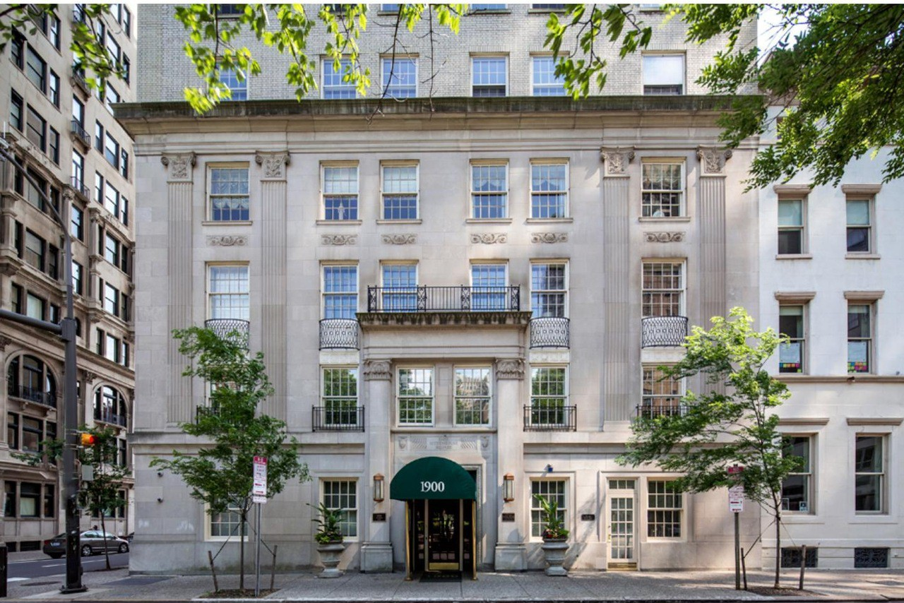 Condo Renovation at 1900 Rittenhouse, originally built as a hotel in 1926 and designed by the firm of Sugarman Hess and Berger. New kitchen, bathrooms, and wall and floor finishes; restoration of original exterior windows and new steel and glass interior partitions and doors. Expected completion Fall 2019